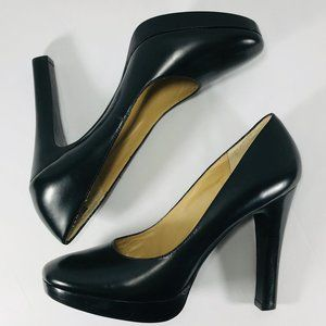 "Michael Kors Black Leather Platform 5"" Pump Heels"